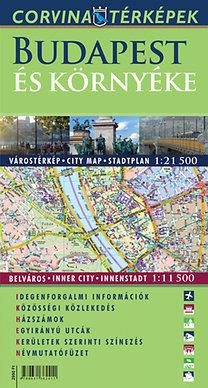 Corvina Kiadó: Budapest és környéke hajtogatott várostérkép 1:21 500