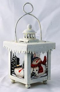 Fém lámpás karácsonyi dísz hóember mintával