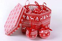 Gömb karácsonyfadísz szett norvég mintás mintával díszdobozban - 14 db, 7 cm