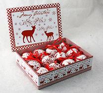 Gömb karácsonyfadísz szett szarvas mintával díszdobozban (12 db) (5cm)