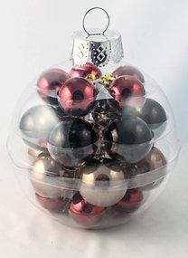 ELEGANT gömb karácsonyfadísz szett (22 db), gömb alakú dísztartóban (fekete-bordó-pezsgő)