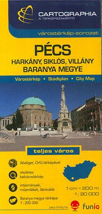 Cartographia Kiadó: Pécs várostérkép - Baranya megye térképe - 1:20000
